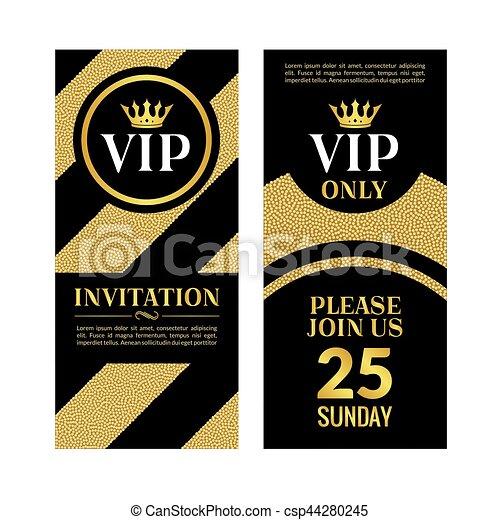 Vip party premium golden invitation card design quilted party vip party premium golden invitation card design quilted party banner certificate vip club with crown decoration elegant premium invitation stopboris Gallery