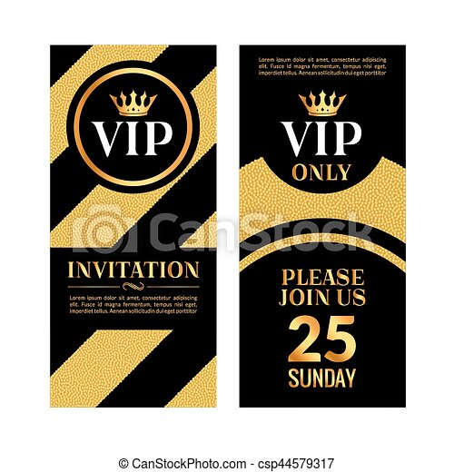 VIP Party Premium Golden Invitation Card Design. Quilted Party Banner  Certificate. Vip Club With  Club Card Design