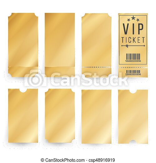 Vip ticket template vector empty golden tickets and coupons