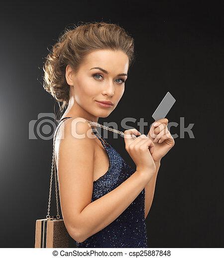 vip, vestido noite, cartão, mulher - csp25887848