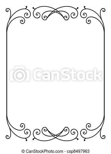 virágos, díszítő, dekoratív, vektor, keret - csp8497963
