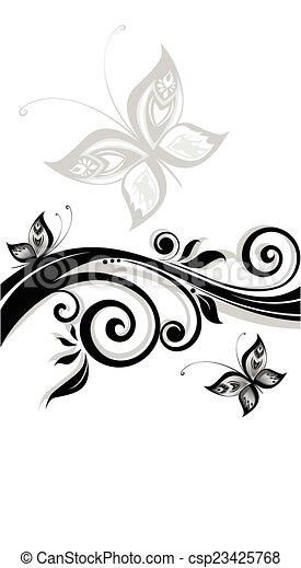 virágos, fekete, transzparens - csp23425768