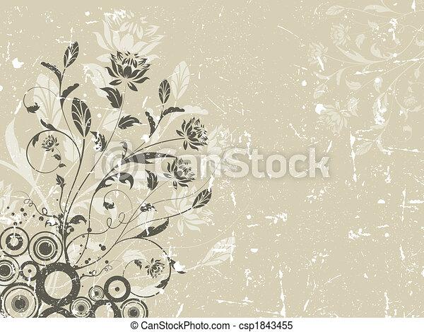 virágos, grunge, háttér - csp1843455