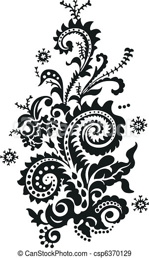 virágos, paisley tervezés - csp6370129