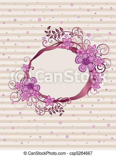 virágos, rózsaszínű, keret, tervezés, ovális - csp5284667