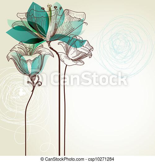 virágos, retro, háttér - csp10271284