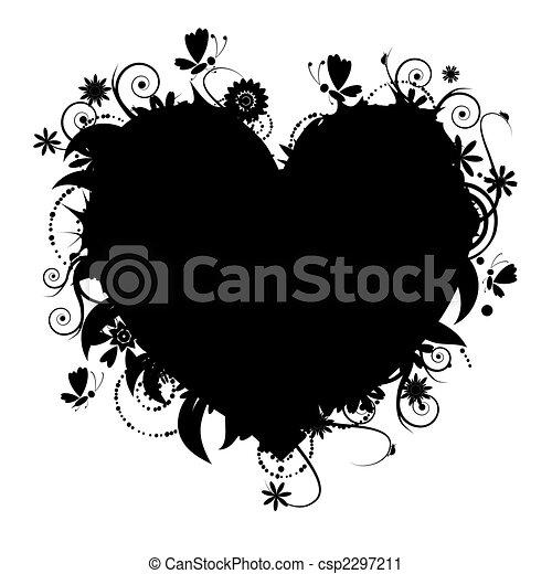 virágos, szív alakzat, tervezés, -e - csp2297211