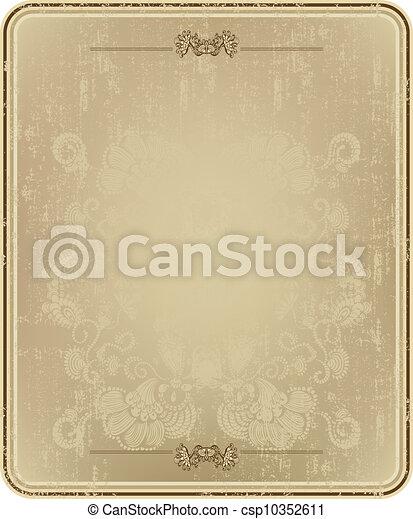 virágos, szüret, keret, elvont - csp10352611