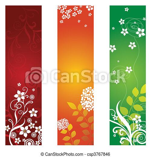 virágos, szalagcímek, három - csp3767846