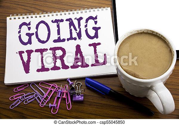 viral, café, concept, viral., business, bois, texte, projection, écrit, écriture, note, sous-titre, stylo, papier, fond, social, aller, main, inspiration - csp55045850