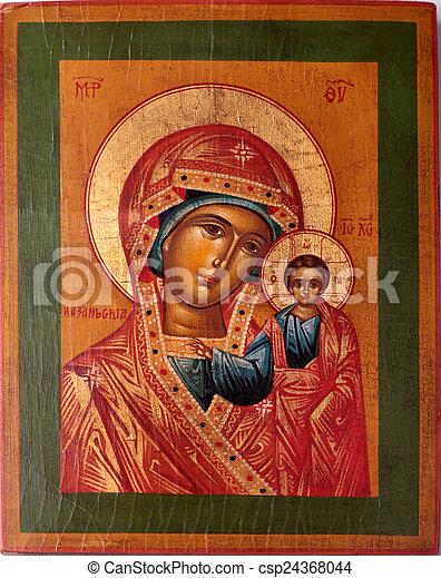 icono ortodoxo de Virgen María - csp24368044