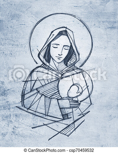 Virgin mary and baby jesus hand drawn pencil illustration ...