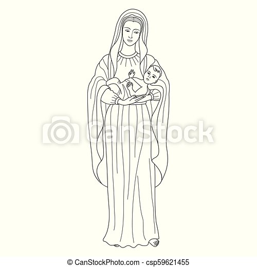 Mother Mary Holding Child Jesus coloring page | Free Printable ... | 470x450