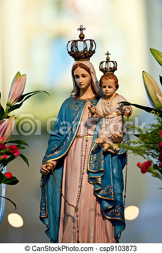 Virgin Mary statue in the church of Macao - csp9103873