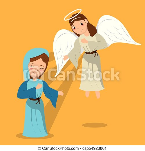 virgin mary with angel annunciation scene vector clip art vector rh canstockphoto com