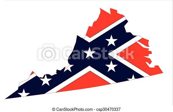 virginia map and confederate flag csp30470337