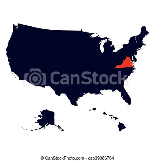Clip Art Vector Of Virginia State In The United States Map Vector - Virginia state map united states