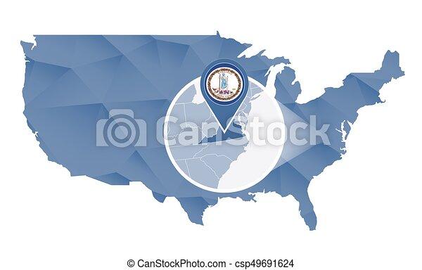 Vector Illustration Of Virginia State Magnified On United States - Virginia state map united states
