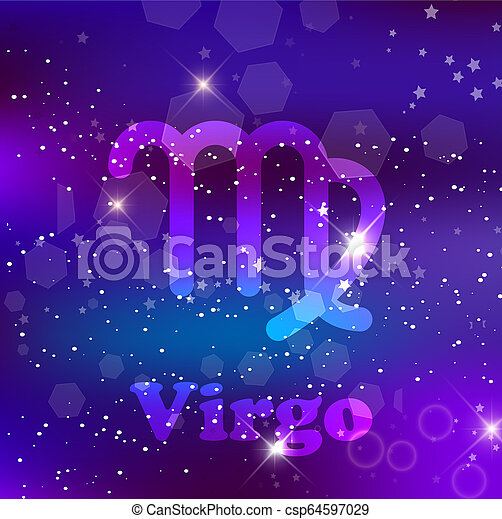 Virgo Zodiac Sign On A Cosmic Purple Background With Sparkling Stars And Nebula Virgo Zodiac Sign And Constellation On A