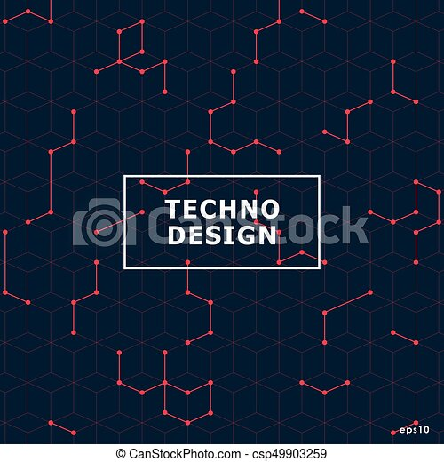 Virtual abstract background with particle, molecule structure. - csp49903259