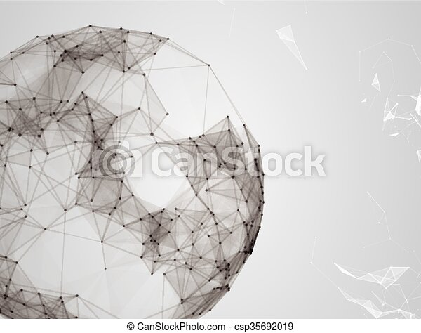 Virtual abstract background with particle, molecule structure. genetic and chemical compounds. creative vector. Space and constellations. Science and connection concept. Social network. - csp35692019