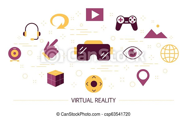 Virtual and augmented reality concept. Vr glasses - csp63541720