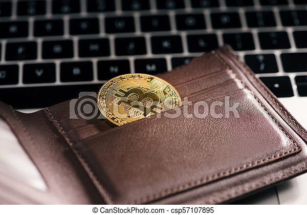 Virtual currency wallet. Bitcoin gold coin. Cryptocurrency concept. - csp57107895