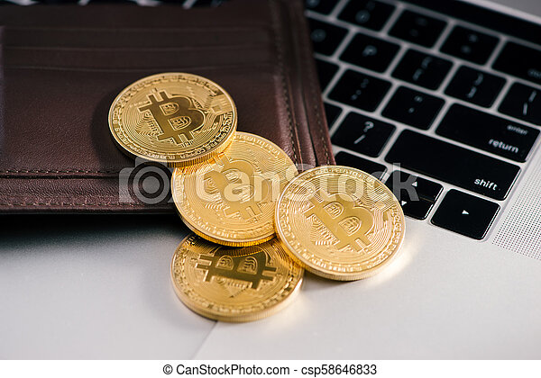 Virtual currency wallet. Bitcoin gold coin. Cryptocurrency concept. - csp58646833