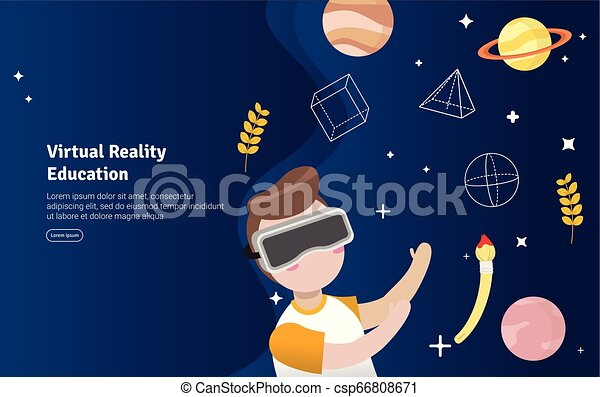 Virtual Reality Education Concept Educational And Scientific Illustration Banner Suitable For Wallpaper Banner Background Card Book Illustration Or Web Landing Page And Use For Marketing