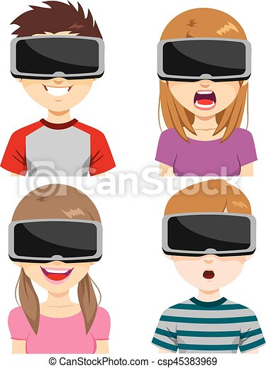 Virtual Reality Headset Expressions - csp45383969