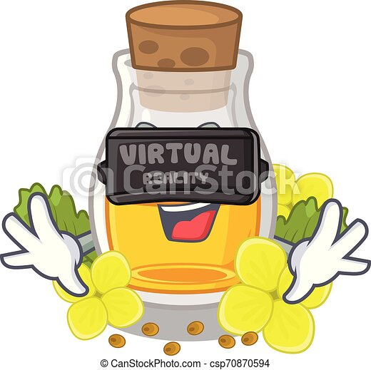 Virtual reality mustard oil wrapped in mascot box - csp70870594