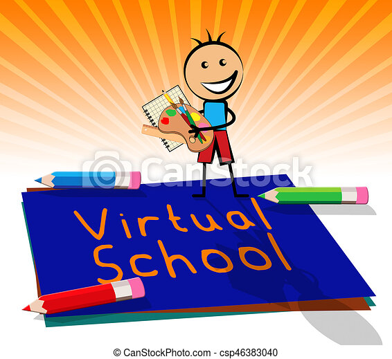 Virtual School Displays Learning And Education 3d Illustration Virtual School Paper Displays Learning And Education 3d