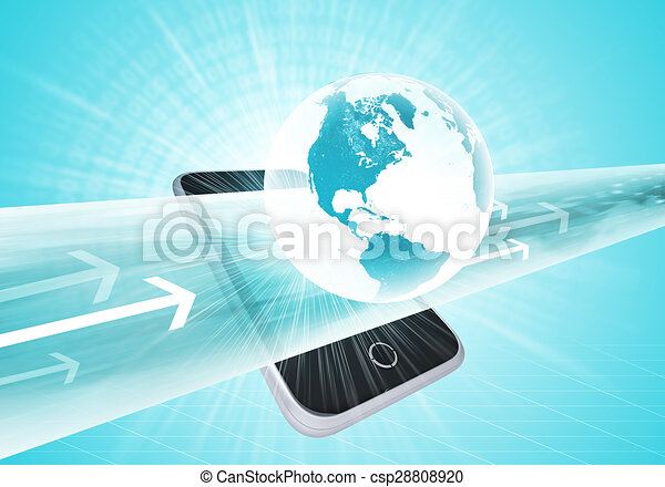 Virtual smartphone and Earth - csp28808920