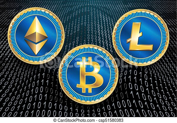 Virtual symbols of the coin bitcoin, litecoin and ethereum on binary code background. - csp51580383
