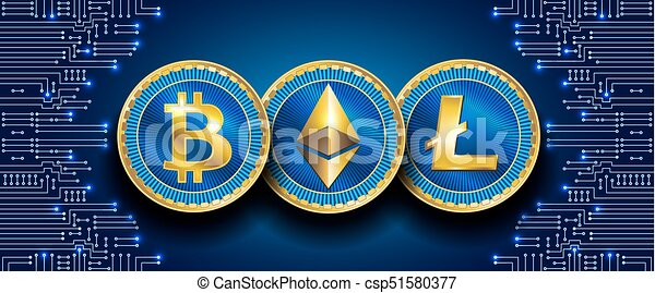 Virtual symbols of the coin bitcoin, litecoin and ethereum - csp51580377