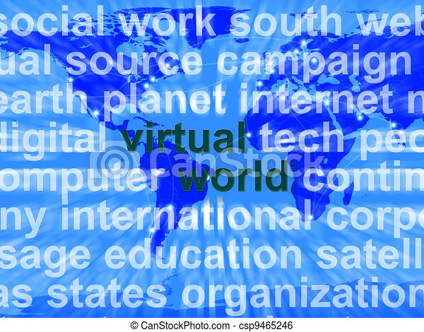 Virtual World Words On Map Showing Global Internet Or Worldwide Networking - csp9465246