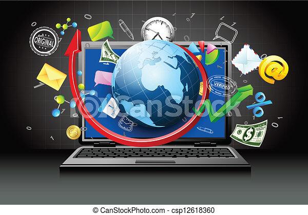 virtuel, business - csp12618360