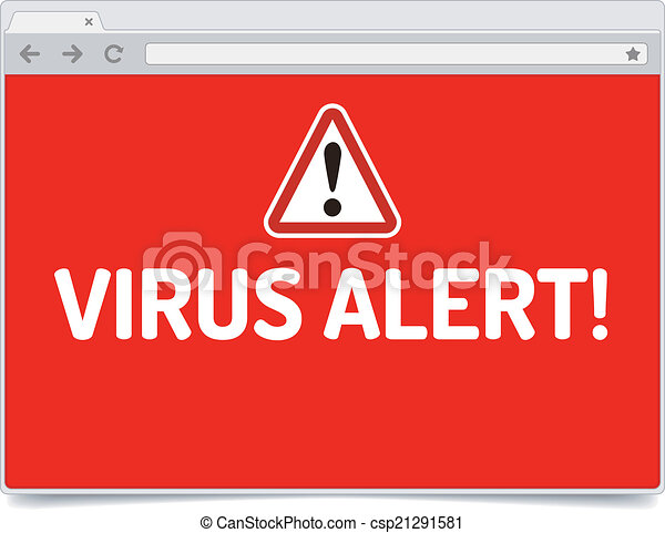 Virus Alert On Opened Internet Browser Window With Shadow Isolated