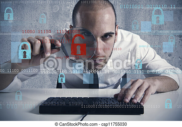 Virus and hacking concept - csp11755030