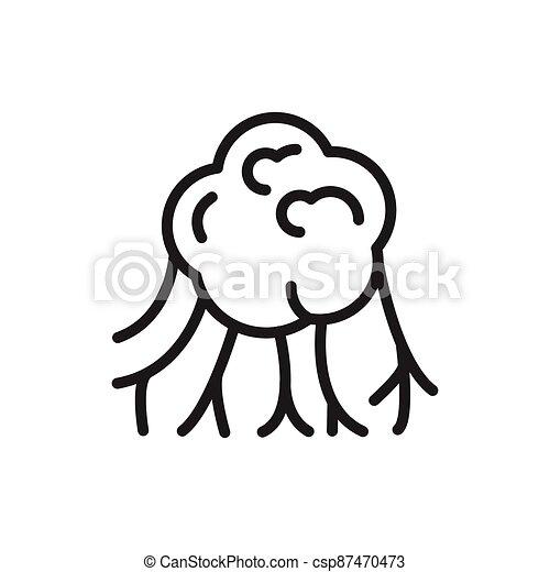 Virus cancer cell black line icon. Outline pictogram - csp87470473