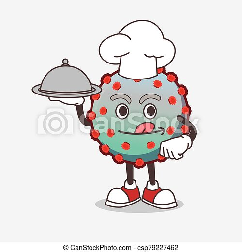 Virus cartoon mascot character as a Chef with food on tray ready to serve - csp79227462