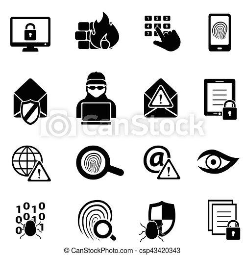 virus, computer, cybersecurity, sicurezza, icone - csp43420343