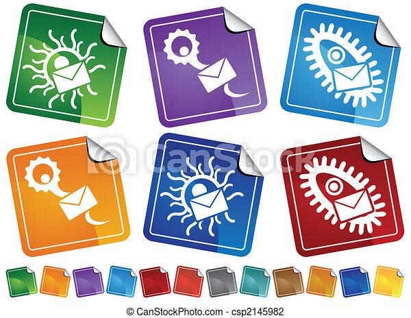 Un juego de iconos de etiqueta de correo de virus - csp2145982
