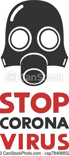 virus, máscara, corona, símbolo, parada - csp78498832