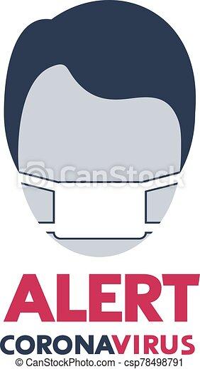 virus, mensaje, máscara, corona, alarma - csp78498791