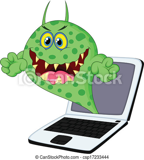 virus, ordinateur portable, dessin animé - csp17233444