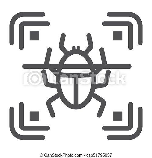 Virus scan line icon, security and antivurus - csp51795057