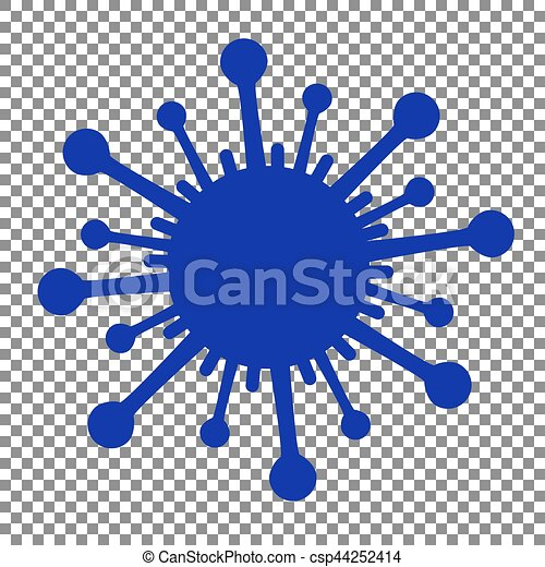 Virus sign illustration. Blue icon on transparent background. - csp44252414