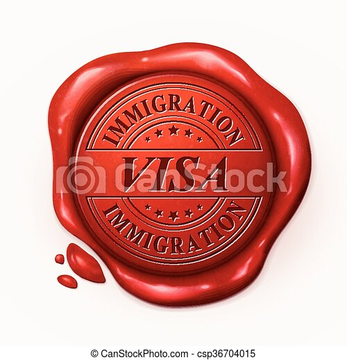 visa 3d red wax seal - csp36704015