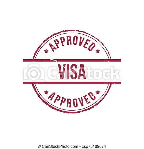 Visa approved grunge round vintage rubber stamp vector image - csp75189674